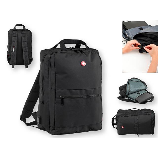 JACKSON polyesterový batoh na notebook, 600D, SWISSBAGS, Černá - šedá