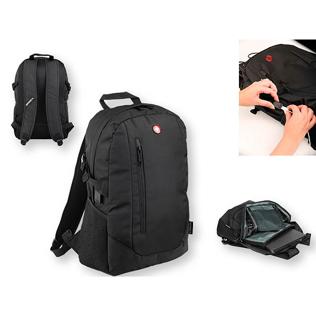 DIVINE polyesterový batoh, 600D, SWISSBAGS, Černá - bílá