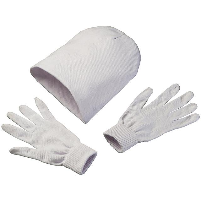 Čepice a rukavice - bílá