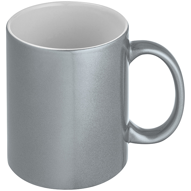 Hrnek s kovovým efektem - stříbrná