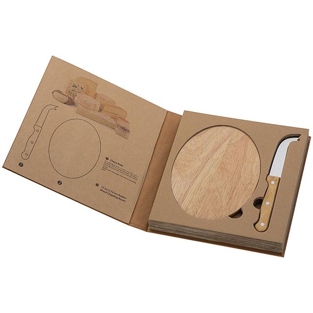 Sada na sýr s dřevěnou deskou - béžová