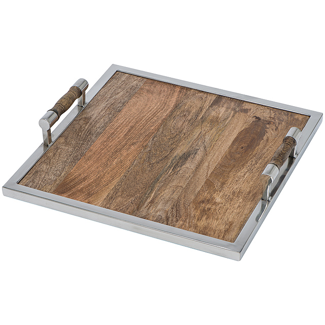 Wood tray, square - brown