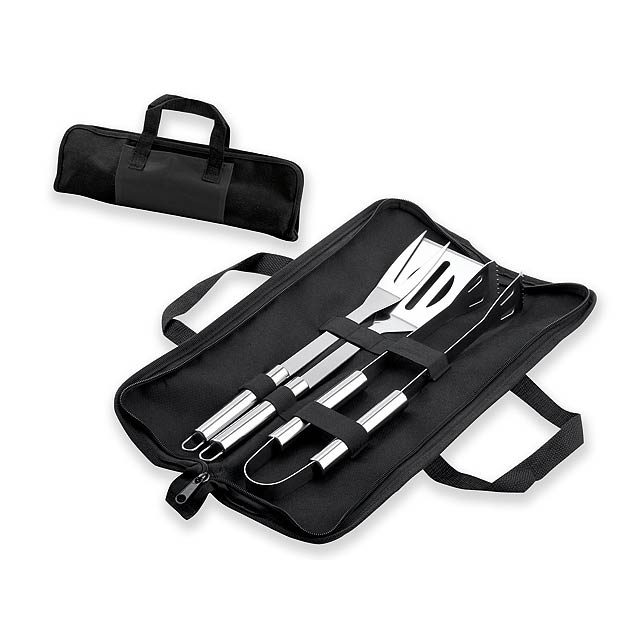 BARBECUE - 3-part BBQ set made of stainless steel in nylon pouch. - grey