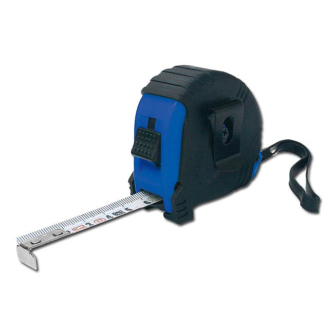LAURER - plastový svinovací metr s aretací, 3 m - modrá