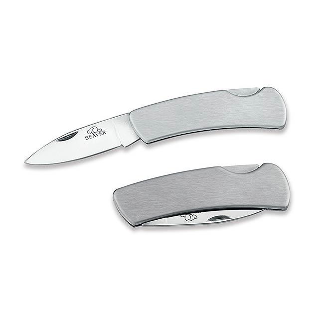 ANDOR - nerezový kapesní nůž s pojistkou, ostří 6,5 cm, BEAVER - stříbrná
