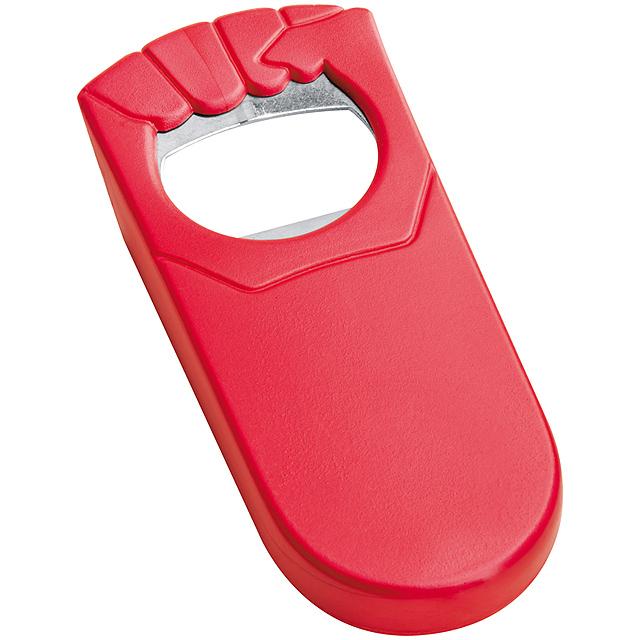 Plastový otvírák lahví - červená