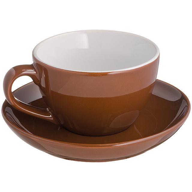Cappuccino šálek s podšálkem - hnědá