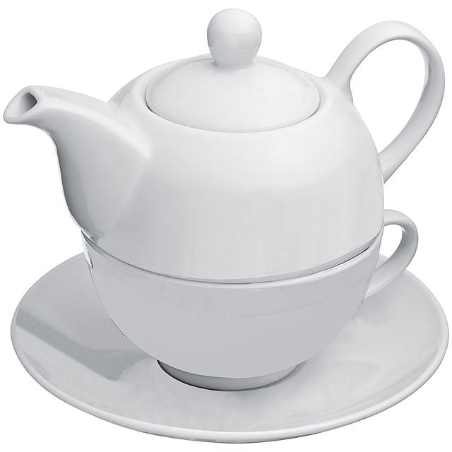 Čajník s šálkem - bílá