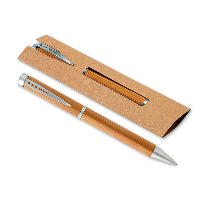 LAKE BAMBOO - Kugelschreiber aus Bambusholz mit Metallclip in Geschenkbox aus Papier, blauschreibende Mine - Holz