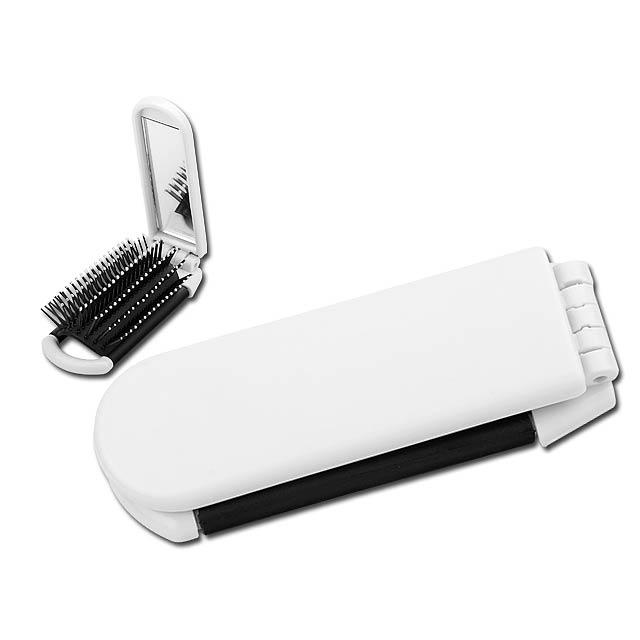 GUSTAVO - Plastic folding comb with mirror. - white
