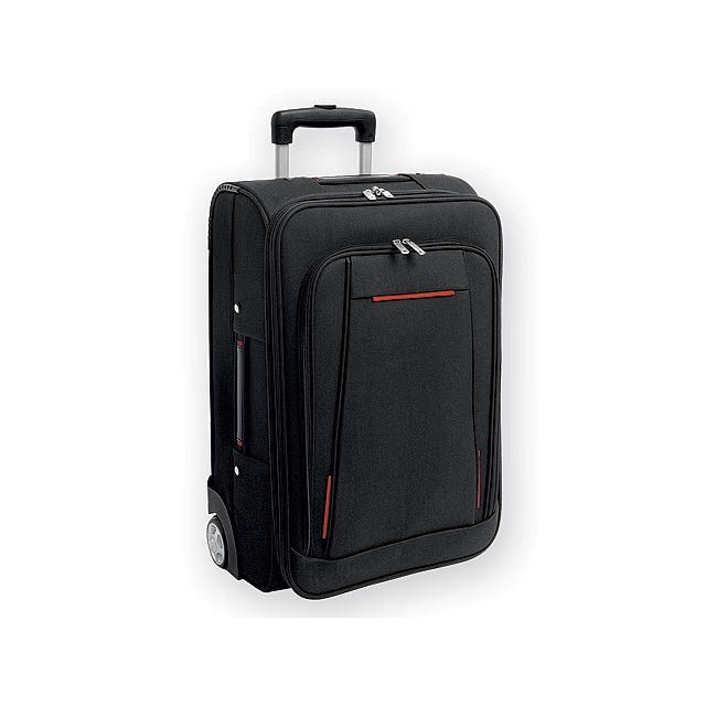 TOBAGO polyesterový kufr na kolečkách, 600D a EVA, Červená - červená