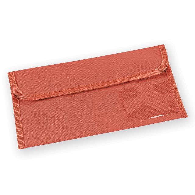 NOTTINGHAM polyesterové cestovní pouzdro na dokumenty, 600D, Červená - červená