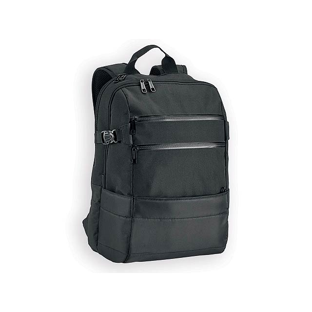 ZIPPERS polyesterový batoh na notebook, 840D, Černá - černá