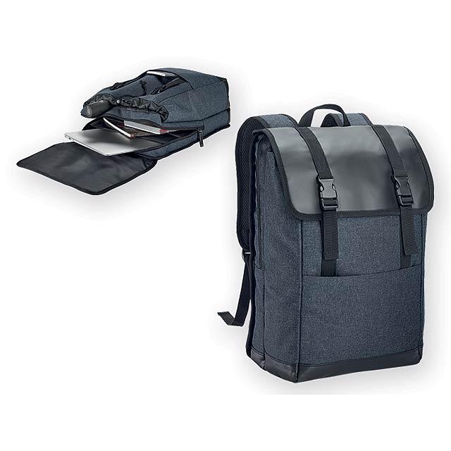 TRAVELLER polyesterový batoh na notebook, 600D, Modrý melír - modrá
