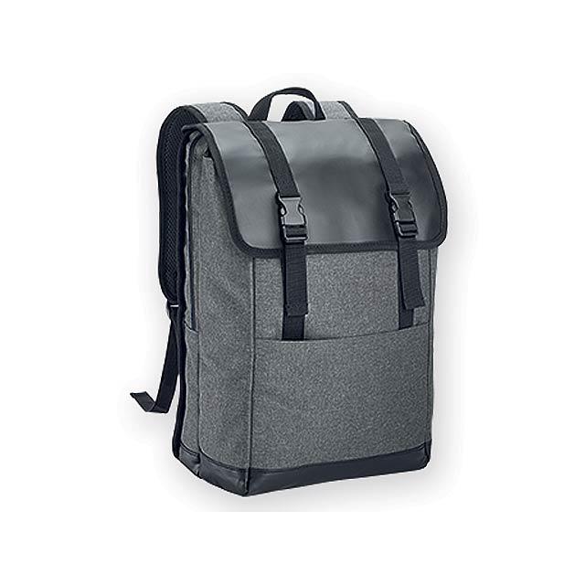 TRAVELLER polyesterový batoh na notebook, 600D, Šedý melír - šedá