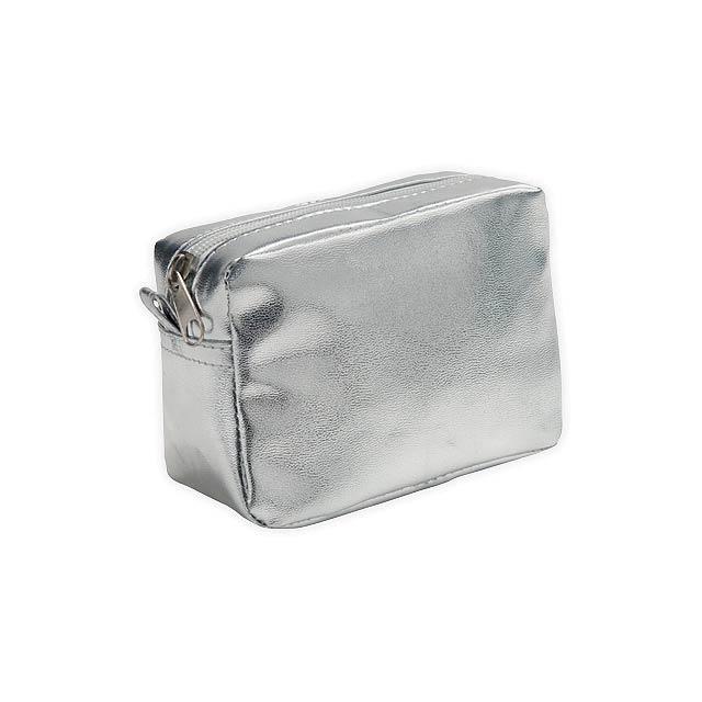 PACINO víceúčelové pouzdro z PVC, Saténově stříbrná - stříbrná