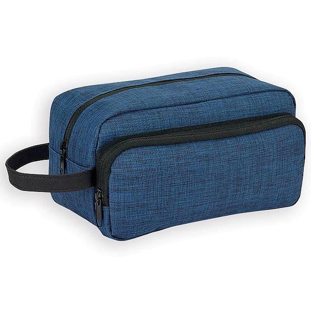 KEVIN polyesterová kosmetická taška, 300D, Modrý melír - modrá
