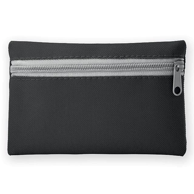 DURHAM polyesterové multifunkční pouzdro s kapsou na klíče, 600D, Černá - černá