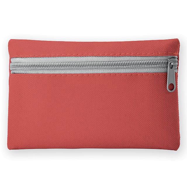 DURHAM polyesterové multifunkční pouzdro s kapsou na klíče, 600D, Červená - červená