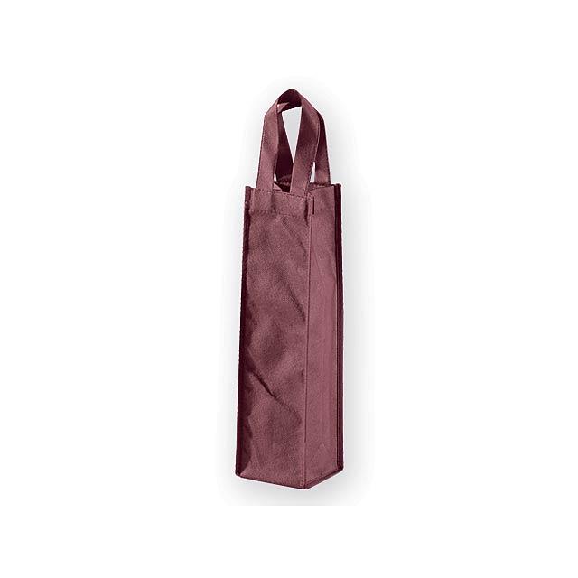 LYON dárková taška z netkané textilie na 1 láhev vína, 80 g/m2, Bordó - červená