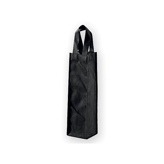 LYON dárková taška z netkané textilie na 1 láhev vína, 80 g/m2, Černá - černá