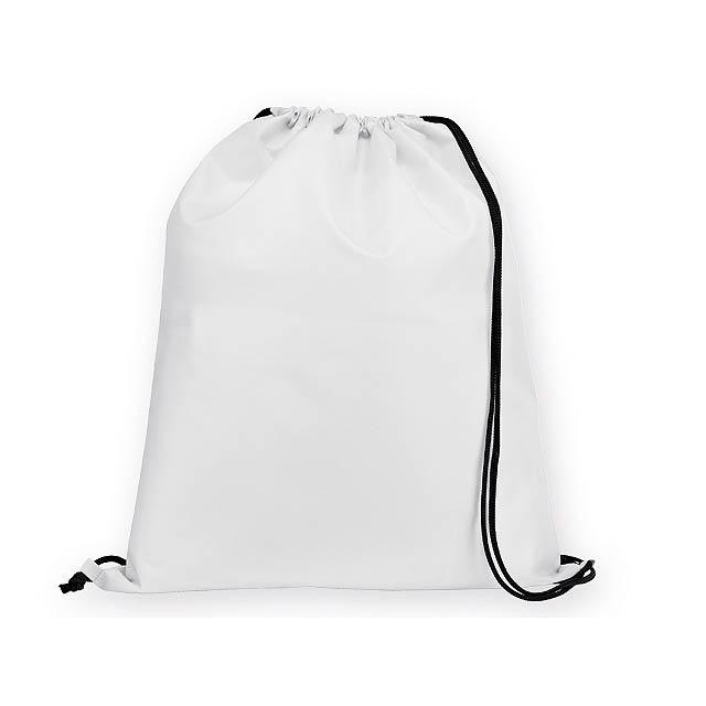BEXINGTON polyesterový stahovací batoh, 210D, Bílá - bílá