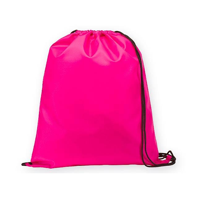 BEXINGTON polyesterový stahovací batoh, 210D, Růžová - růžová