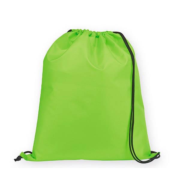 BEXINGTON polyesterový stahovací batoh, 210D, Světle zelená - zelená