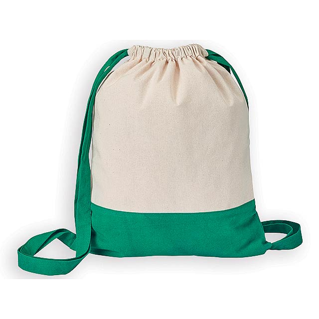 MILA bavlněný stahovací batoh, 180 g/m2, Zelená - zelená