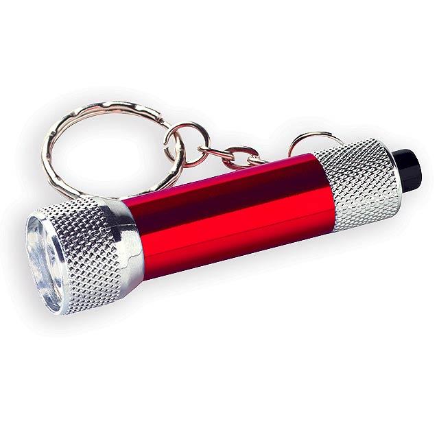 LAMP II kovový přívěsek - 3 LED svítilna, Červená - červená