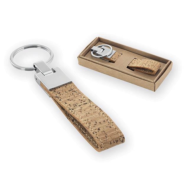 KILKEE přívěsek na klíče z kovu a korku, Přírodní - béžová