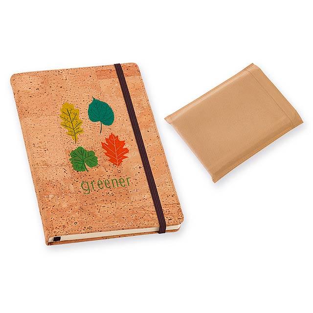 PORTEL korkový poznámkový zápisník, Přírodní - béžová