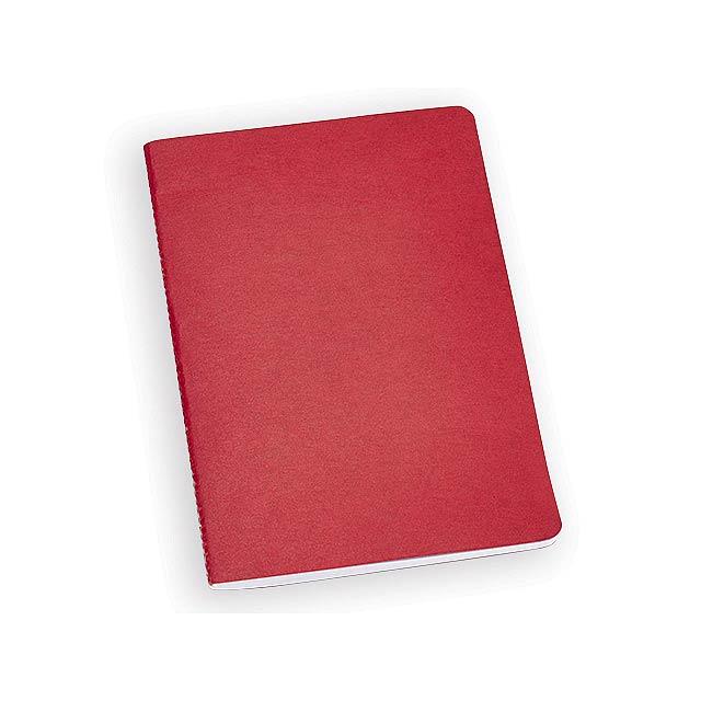 LIVIE poznámkový sešit, 80 linkovaných stran, Červená - červená
