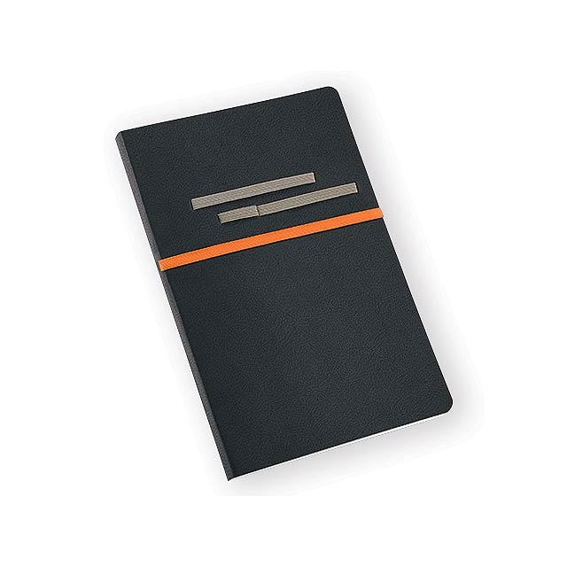 ROOTS poznámkový zápisník, 192 stran bez linek, Oranžová - oranžová