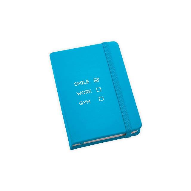 BECKETT poznámkový zápisník, 160 linkovaných stran, Světle modrá - modrá