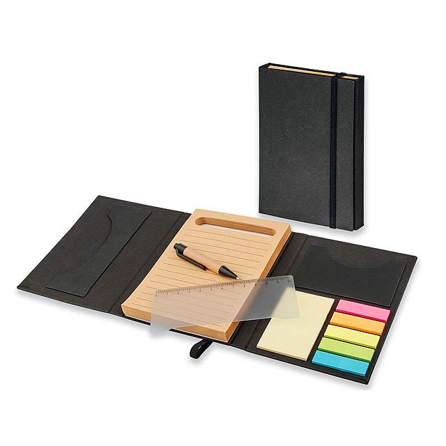 DIZA - Psací linkovaný blok (80 listů) s lepicím bločkem, barevnými lepicími papírky (25 lístků/barva), pravítkem, prostorem na - černá