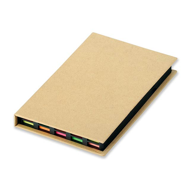 HEDVIKA - sada papírků na poznámky včetně barevných lepících papírků - hnědá
