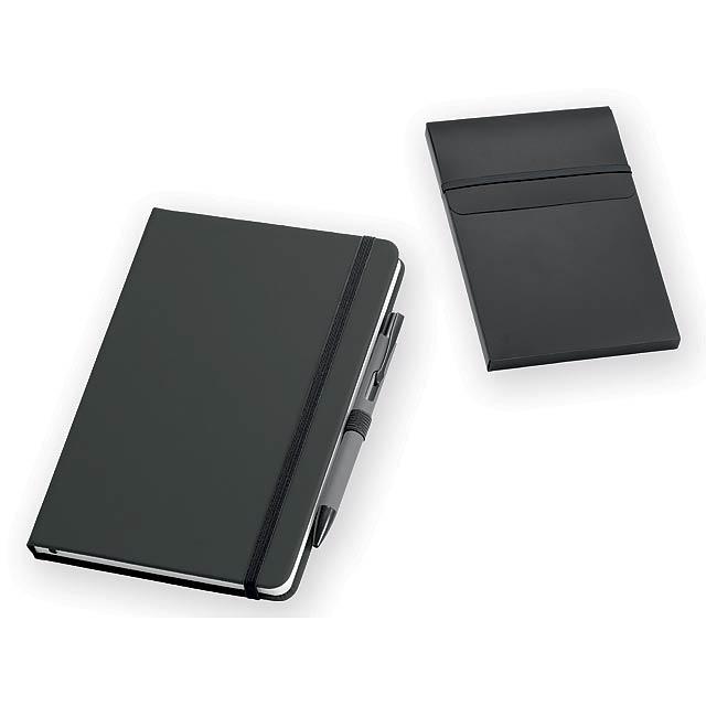 JESOLO poznámkový zápisník s kuličkovým perem, 140x210 mm, Černá - černá