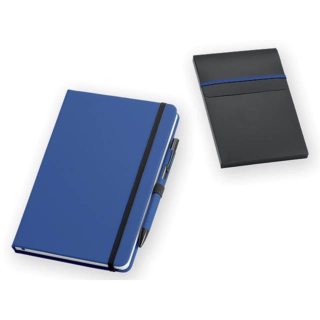 JESOLO poznámkový zápisník s kuličkovým perem, 140x210 mm, Královská modrá - modrá