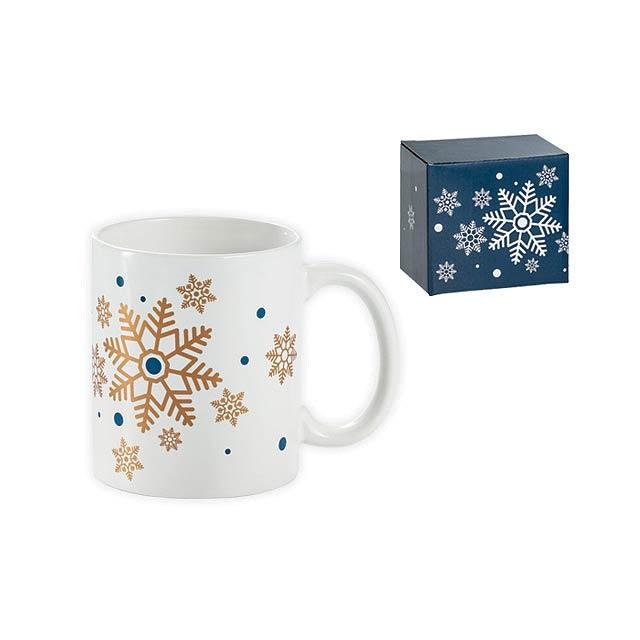 SNOWFLAKE MUG keramický hrnek s vánočním motivem v dárkové krabičce, 350ml, Zlatá - stříbrná