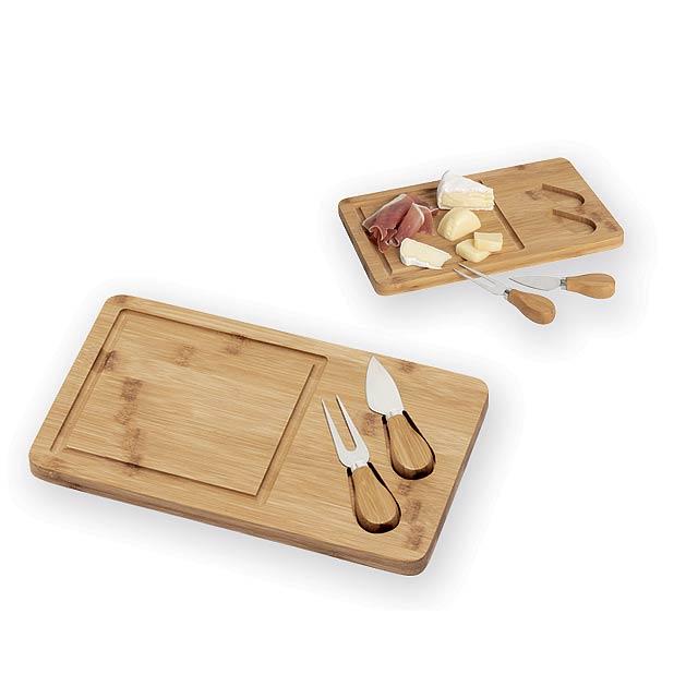 CORLEONE sada na sýr - bambusové krájecí prkénko s nožíkem a vidličkou, Přírodní - béžová