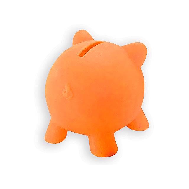 SKUDLIK plastová pokladnička, Oranžová - oranžová
