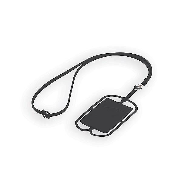 TRUMEN silikonová šňůrka na krk s držákem na telefon a kapsou na kartu, Černá - černá
