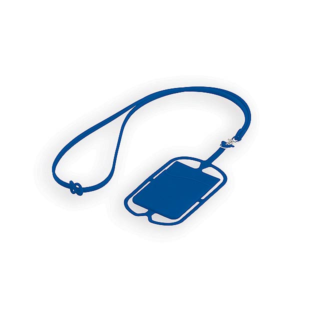 TRUMEN silikonová šňůrka na krk s držákem na telefon a kapsou na kartu, Modrá - modrá