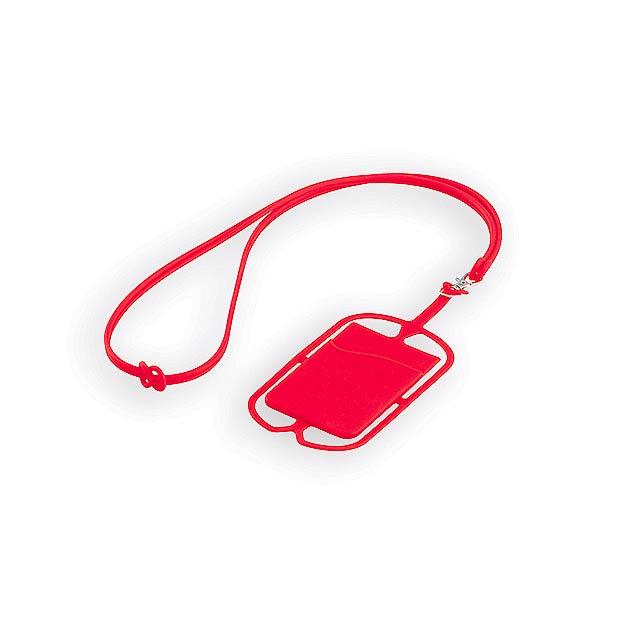 TRUMEN silikonová šňůrka na krk s držákem na telefon a kapsou na kartu, Červená - červená