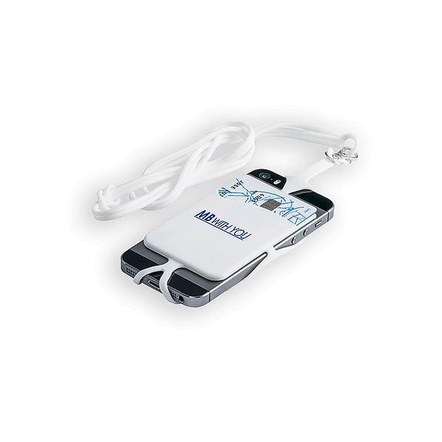TRUMEN silikonová šňůrka na krk s držákem na telefon a kapsou na kartu, Bílá - bílá