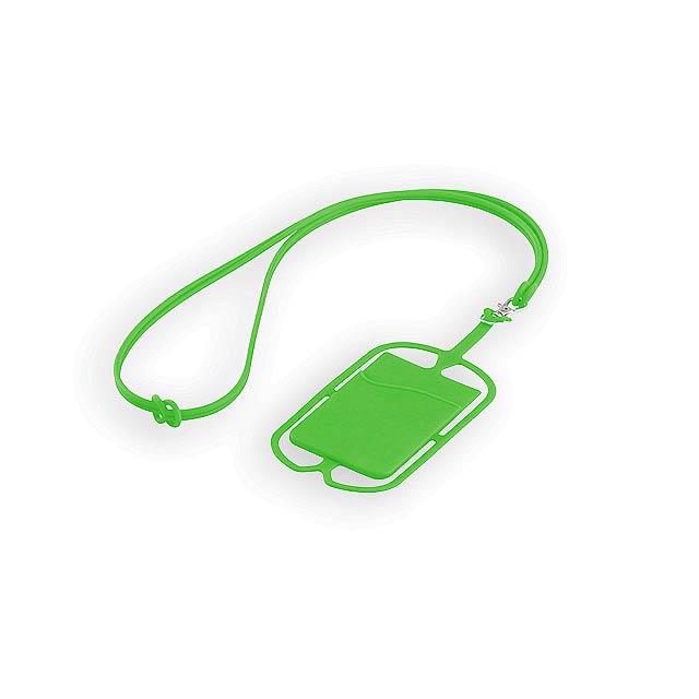 TRUMEN silikonová šňůrka na krk s držákem na telefon a kapsou na kartu, Světle zelená - zelená