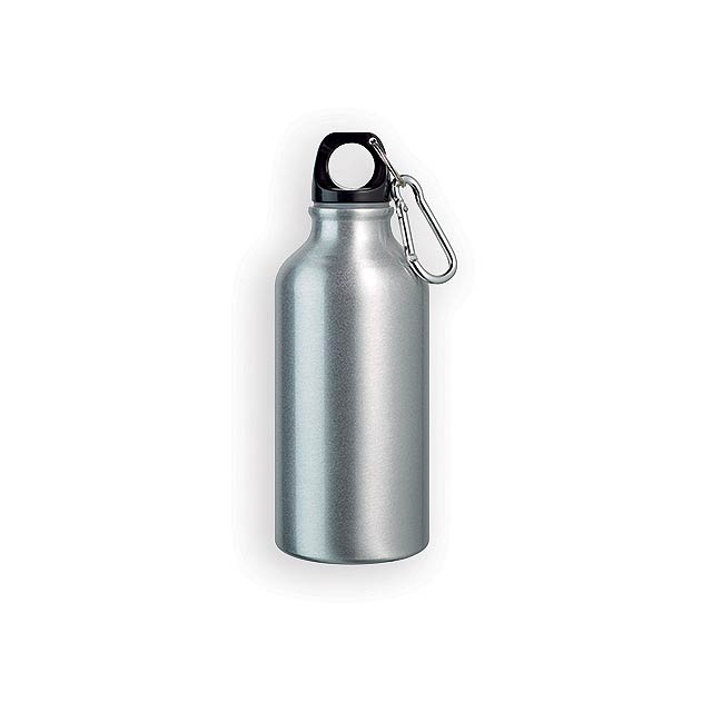 BARAC II hliníková outdoorová láhev, 400 ml, Saténově stříbrná - stříbrná