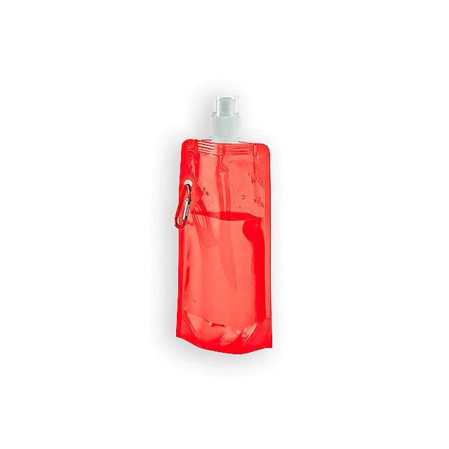 DONATA II plastová skládací láhev, 460 ml, Červená - červená