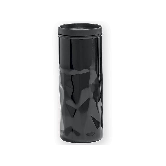 XERESA hrnek s dvojitou stěnou, plast a nerezová ocel, 520 ml, Černá - černá